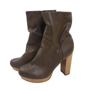 3/$25 C Label Natori Brown Mid Calf Wood Heel Boot